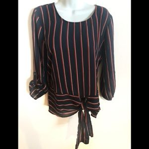 Maurices Navy Red Stripe Tied Hem Blouse M